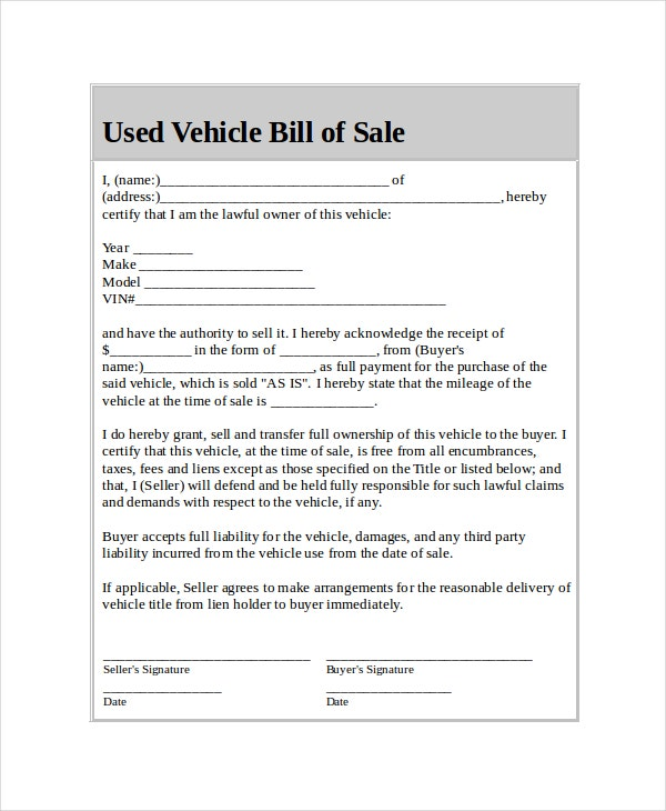 Used Car Bill Of Sale Form Free  NinjaTurtletechrepairsCo