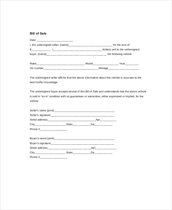 printable-old-car-bill-of-sale-template