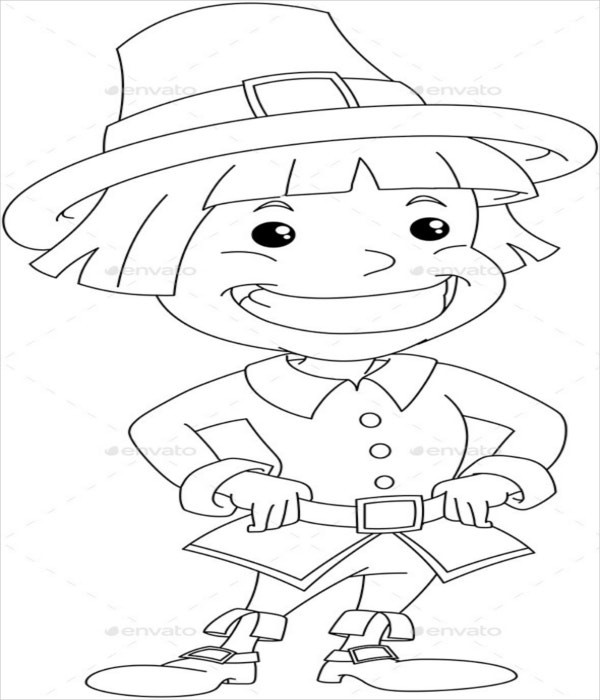 settler boy for thanksgiving coloring page