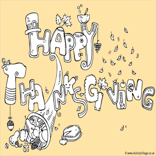 happy thanksgiving colouring page