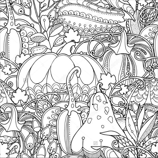 Seamless garden pattern Coloring Page