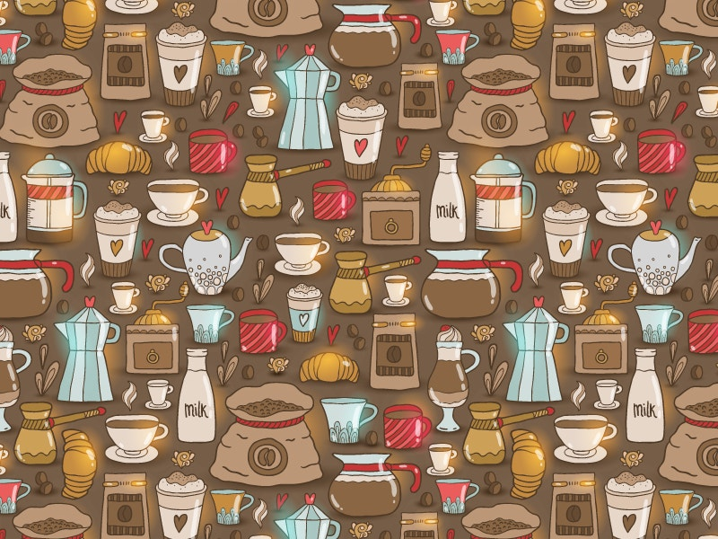 cappuccino doodle coffee pattern