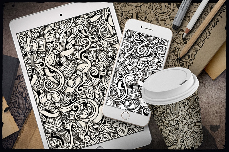 latin american doodle pattern