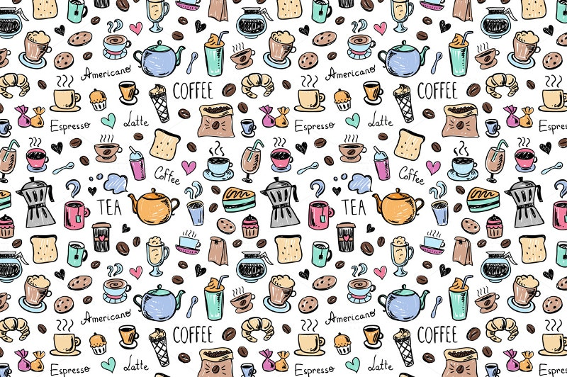 coffee-tea-doodle-patterns-background