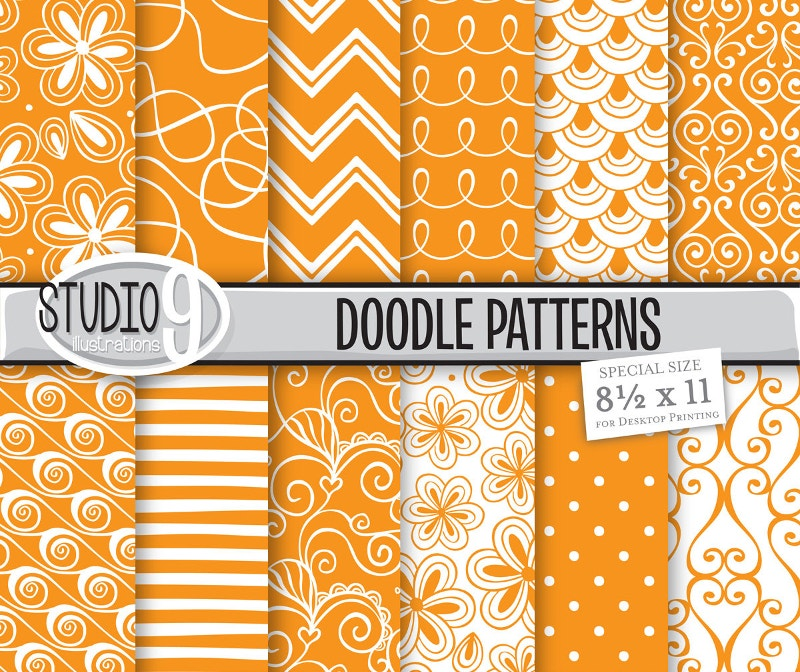 12-orange-pattern-doodles-background