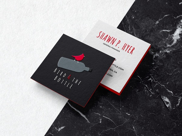 bird and the bottle business cards