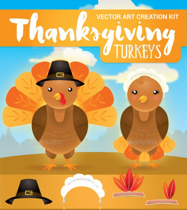 cute thanksgiving turkey clipart
