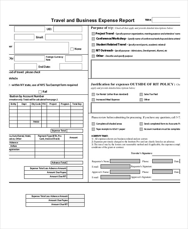 business-expense-report-template