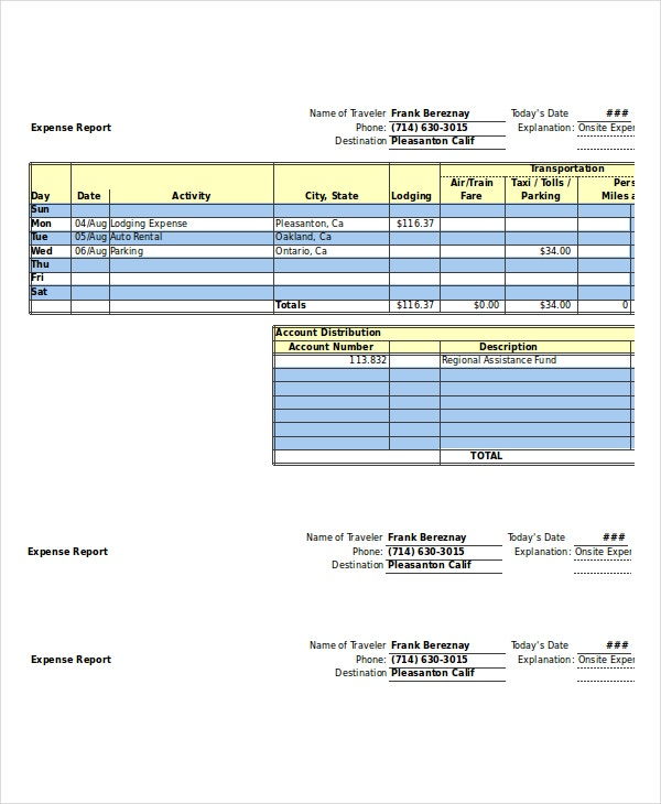 Expense Report   Free Word Excel Pdf Documents Download