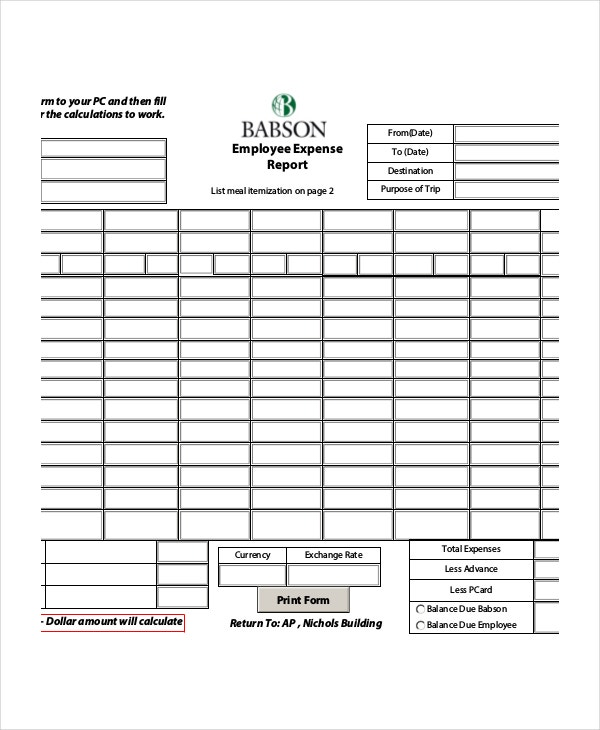 simple employee expense report template