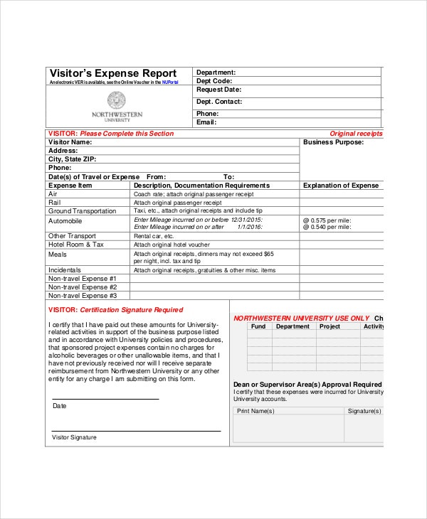 visitors-expense-report-template