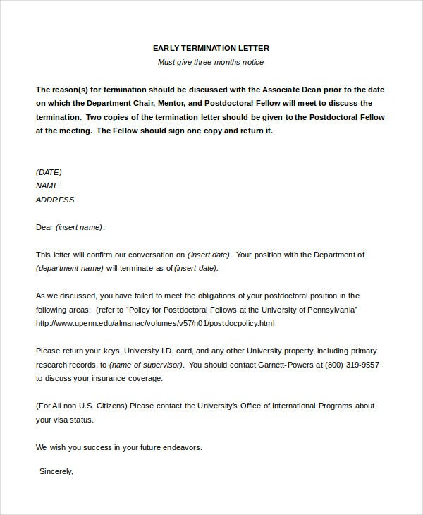 early-termination-letter