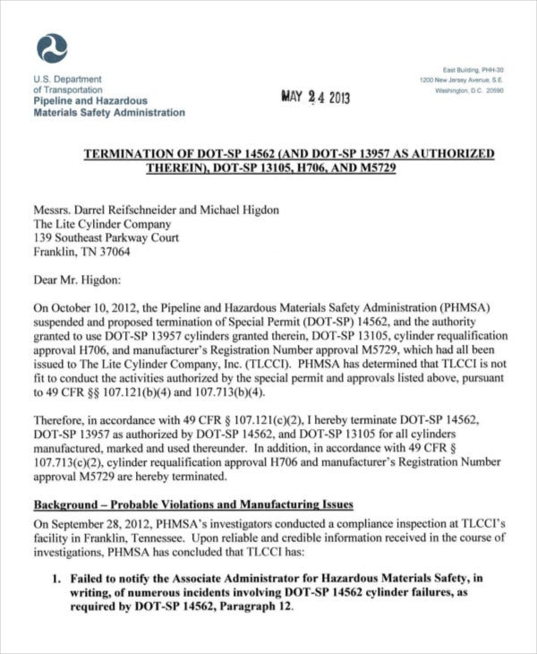 termination letter of department