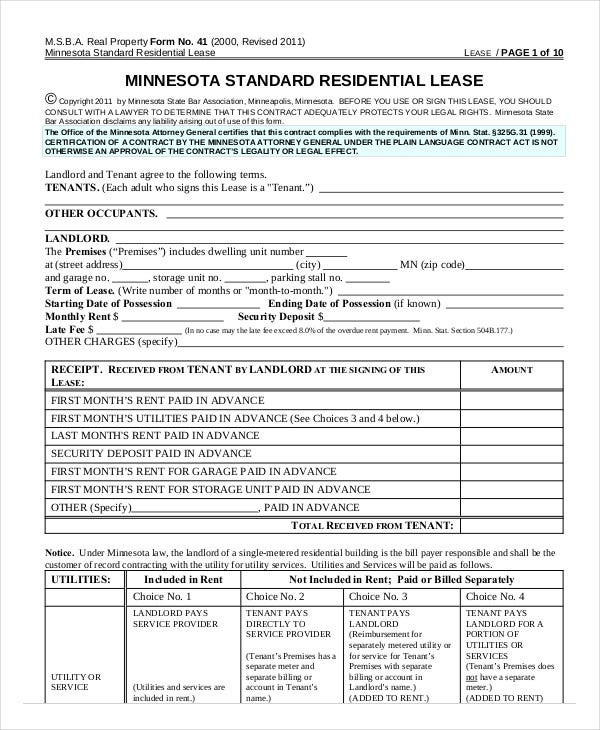 Minnesota Standard Residential Lease Agreement  Free Printable Residential Lease Agreement