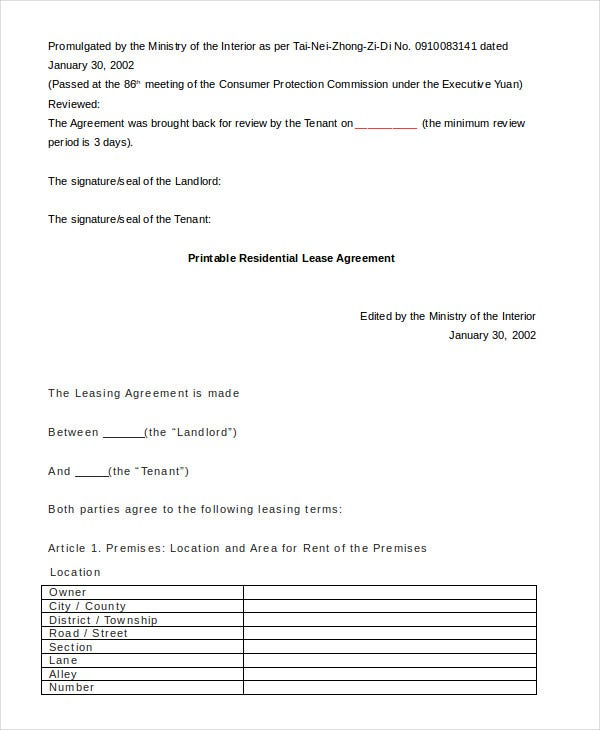 Printable Residential Lease Agreement   Free Word Pdf