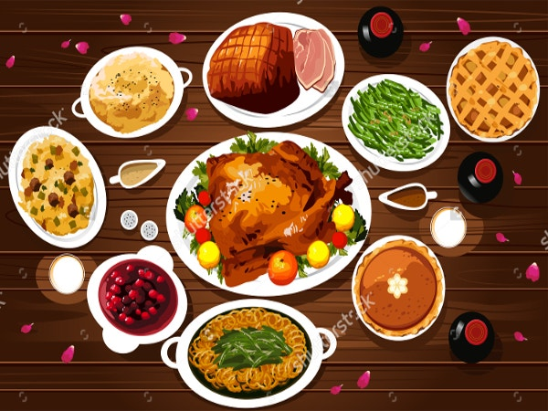 a vector illustration of food of thanksgiving