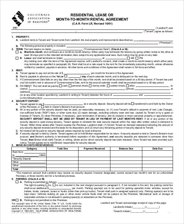 Printable residential lease agreement 13 free word pdf for Housing lease template