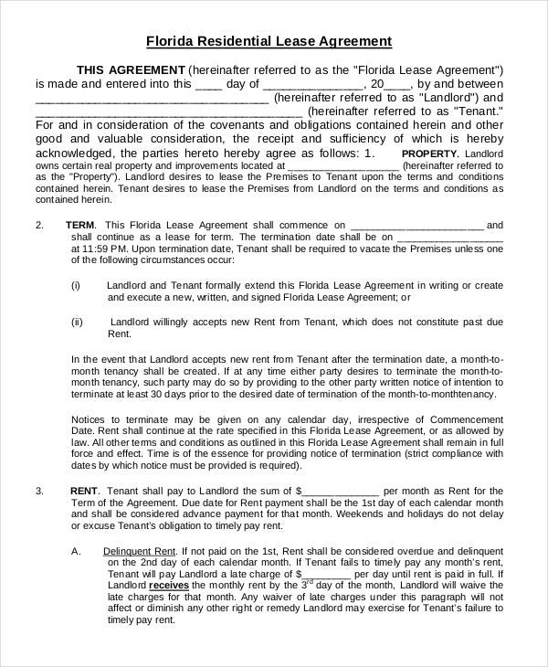 Printable residential lease agreement 13 free word pdf documents florida residential lease agreement platinumwayz