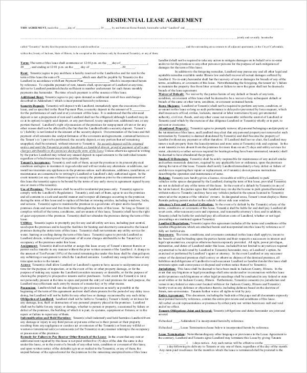 Printable Residential Lease Agreement 9 Free Word PDF – Free Residential Lease Template