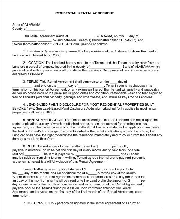 Printable residential lease agreement 13 free word pdf documents long term residential lease agreement platinumwayz