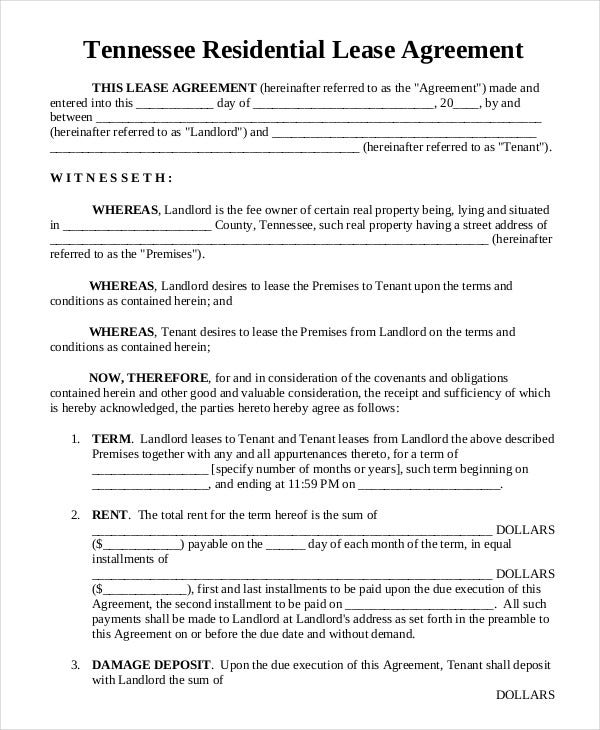 17 Printable Residential Lease Agreements Free Premium Templates