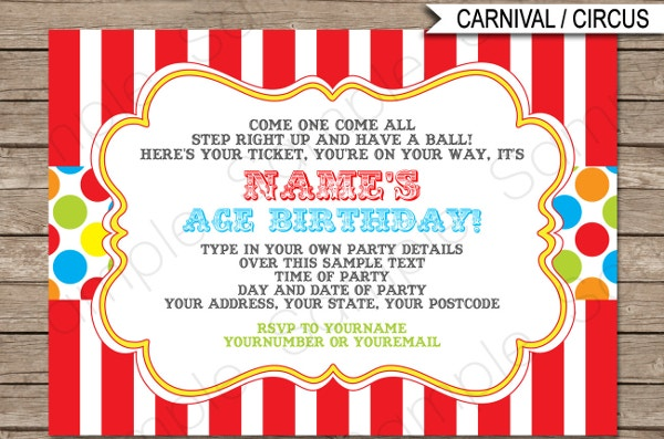 Printable Carnival Theme Party Invitation