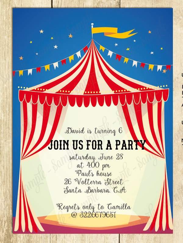 Circus Theme Invitation Templates for good invitation design