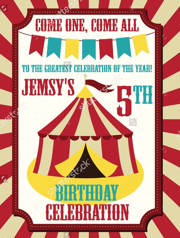 Kids Birthday Card Carnival Invitation