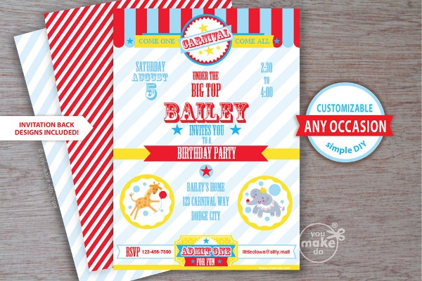 Carnival 1st Birthday Party Invitation for Boy