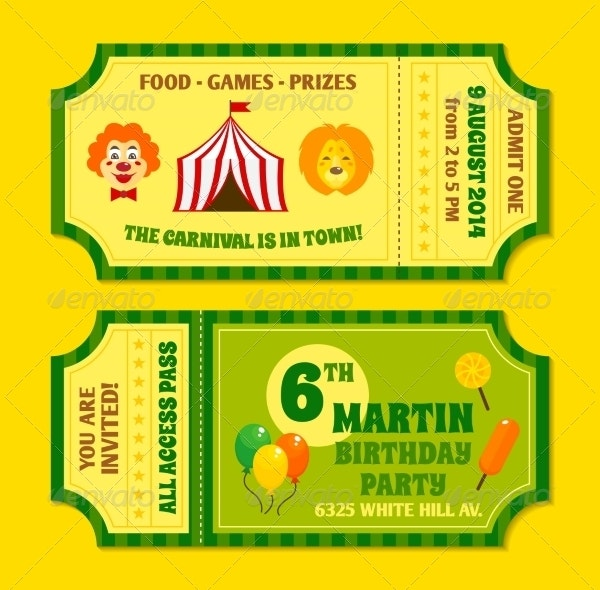 Vintage Circus Carnival Party Invitation Ticket