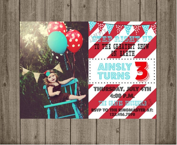 Carnival Birthday Party Invite for Kids