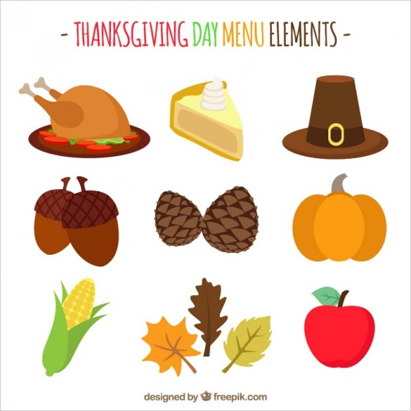 Thanksgiving Flat Icons Set