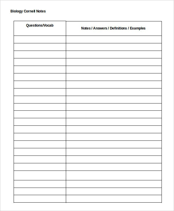 Cornell Notes Template   Free Word Pdf Documents Download
