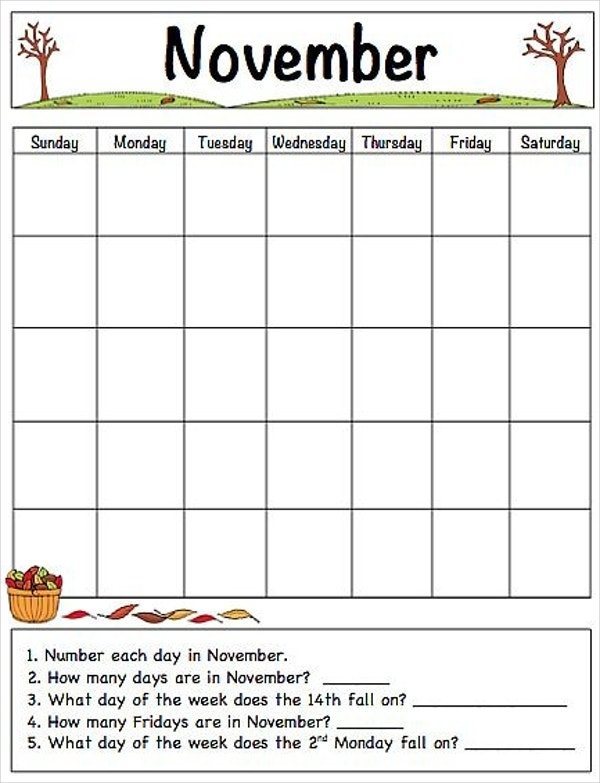 thanksgiving free printable calendar template for kids