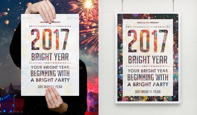 bright year party poster template