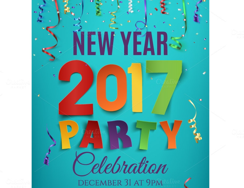 traditional new year 2017 party poster