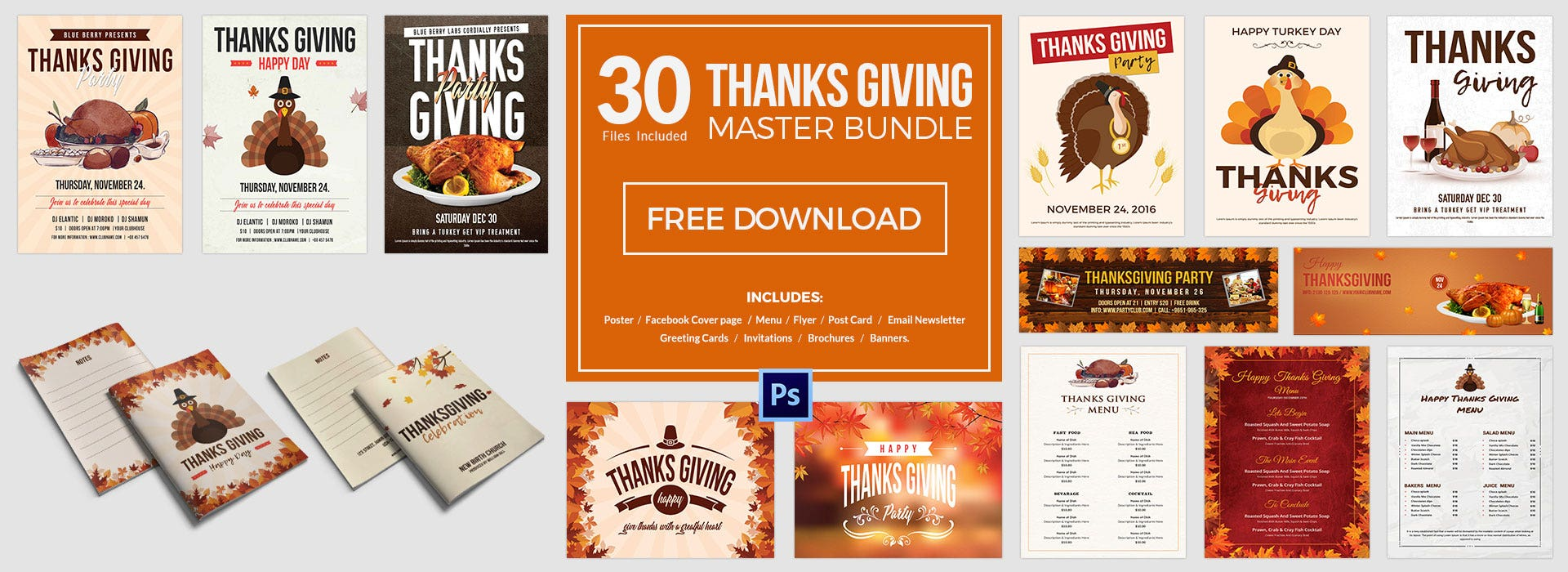 30 Thanks Giving Templates Bundle