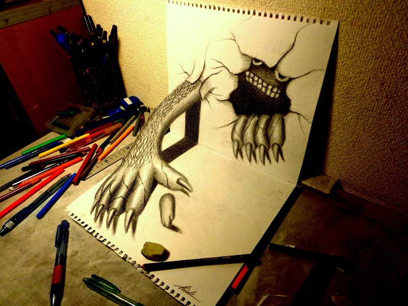 3d-drawing-monster-that-emerged