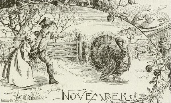 november vintage thanksgiving pencil drawing