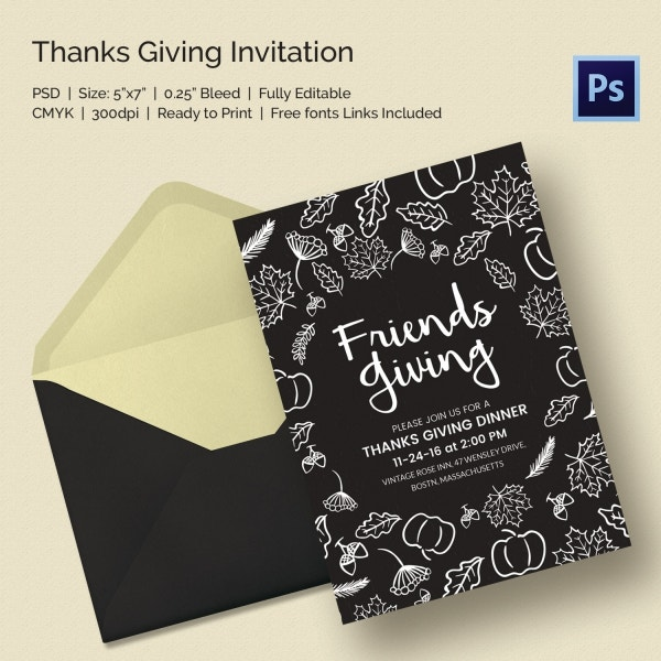 Friends Thanksgiving Invitation Template