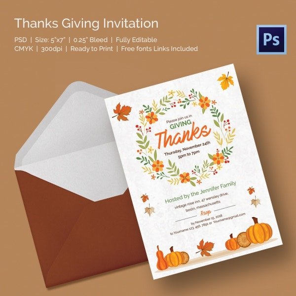 Thanksgiving Greeting Card Invitation