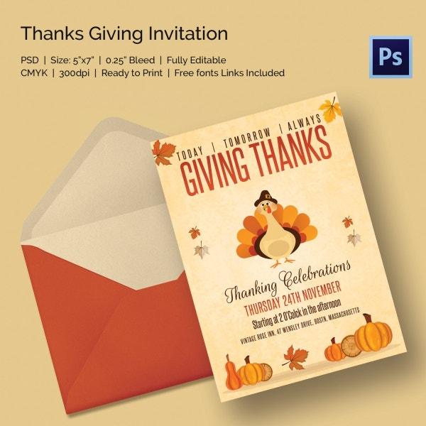 Vintage Thanksgiving Event Celebration Invitation