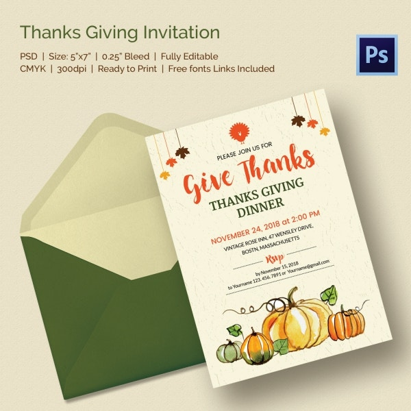 6 thanks giving invitations printable psd format download free