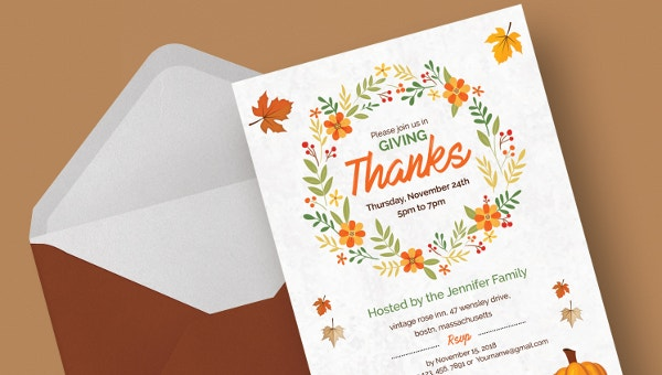 9 Thanks Giving Invitation Templates