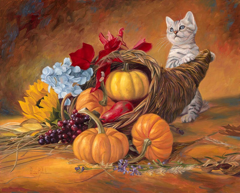 Beautiful Thanksgiving Cat with Pumkin Paiting