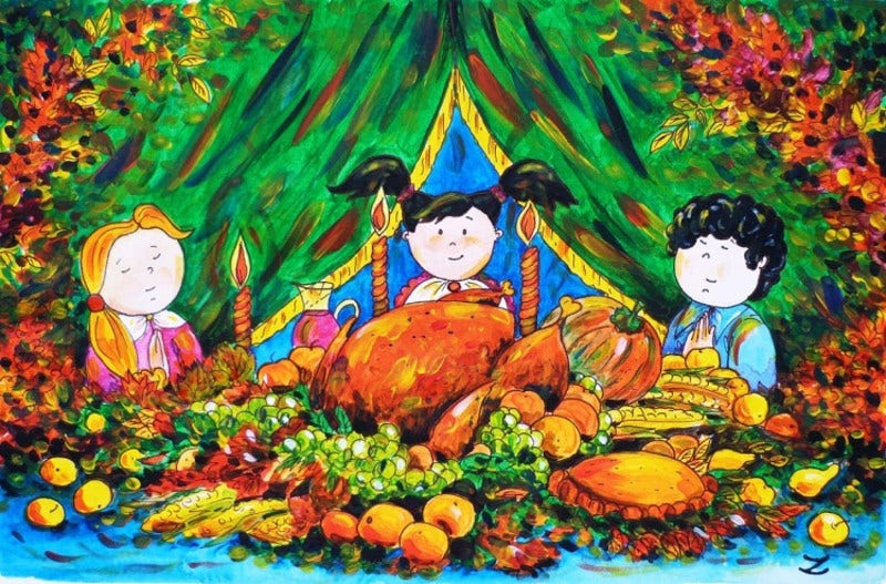 Special Painting for Thanks giving with Children on Dinner Table