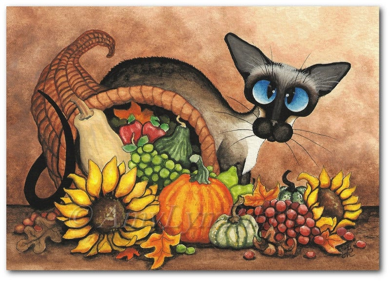 Cute Cat Painting with Flowers and Fruitrs for Thanks giving Day