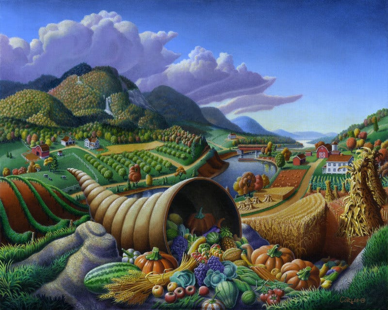 Wonderful Thanksgiving Painting with Harvested Crop in Horn