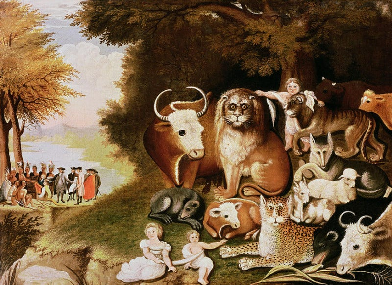 Best Painting with People and Animals in a Peaceful Enviroment for Thanks Giving Day