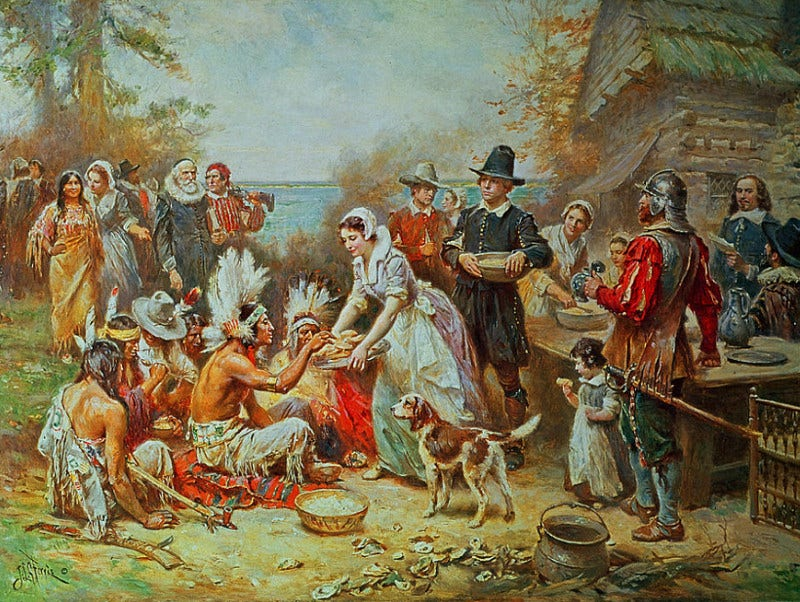 Perfect First Thanksgiving Painting Crowd in Party